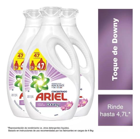 Pack 3 Detergente Liquido Ariel Downy Concentrado 1,9 Litros