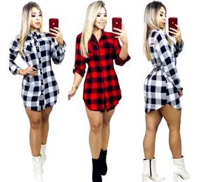 Vestido Feminino Xadrez Chemise Camisão Blogueira Roupa Too