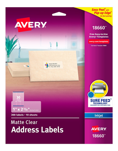 Avery Etiquetas Adhesivas Transparentes Mate Rectang - 18660