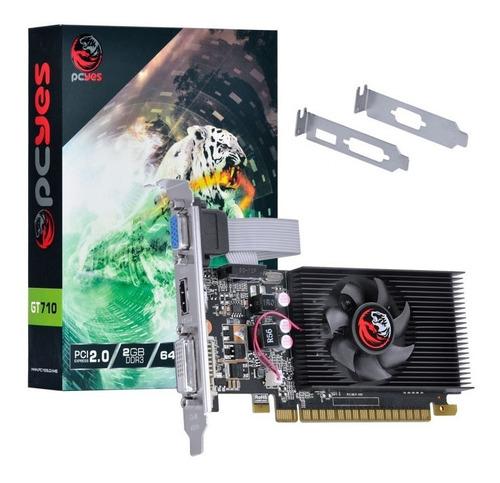 Imagem 1 de 8 de Placa De Video Geforce Nvidia Gt710 2gb Ddr3 - 64 Bits Pcyes
