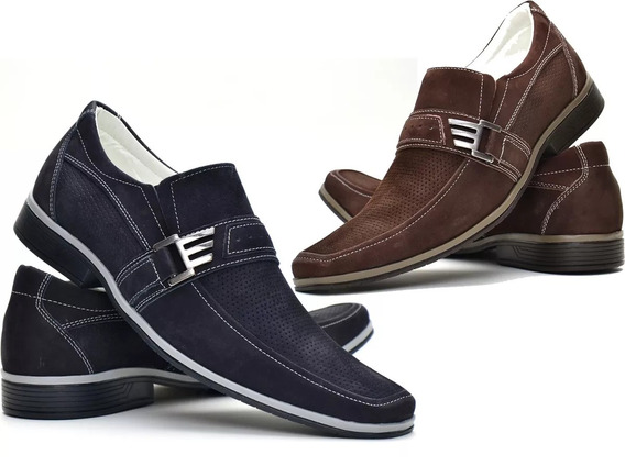 Dois Pares Sapato Casual Promoção Combo Couro Nobuck