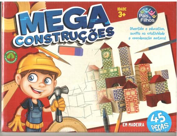 Brinquedo Mega Construções Madeira 45 Pçs Educativo Pais Fil