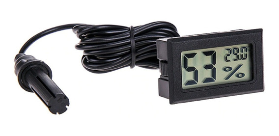 Termômetro Higrômetro Digital Com Sonda Chocadeira - Preto