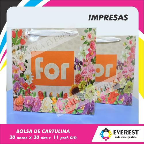 Bolsas De Cartulina 30x30x11 X 125u Impresas Offset 1 Color