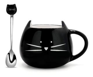 Taza De Ceramica Y Cuchara Forma De Gato Bigotes Negro H1353