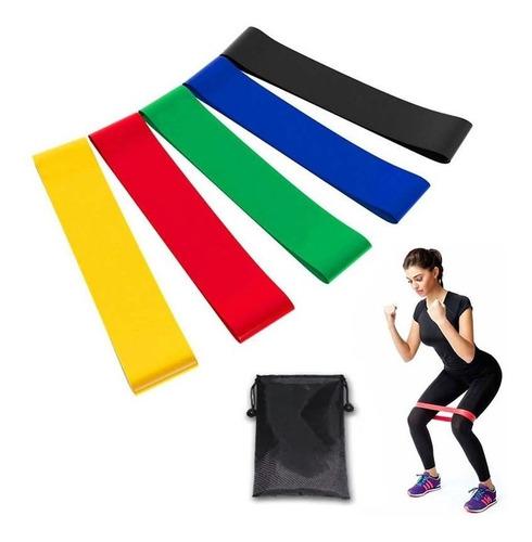 Imagem 1 de 8 de Kit 5 Faixas Elásticas Thera Band Com 5 Níveis Fisioterapia
