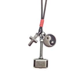 Colar Cordao Masculino Yin Yang Martelo Thor Cruz Crucifixo