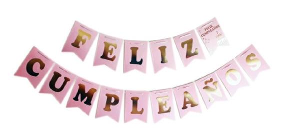 Banderín Feliz Cumpleaños Rosa Pastel X 2.40 Mts - Cc