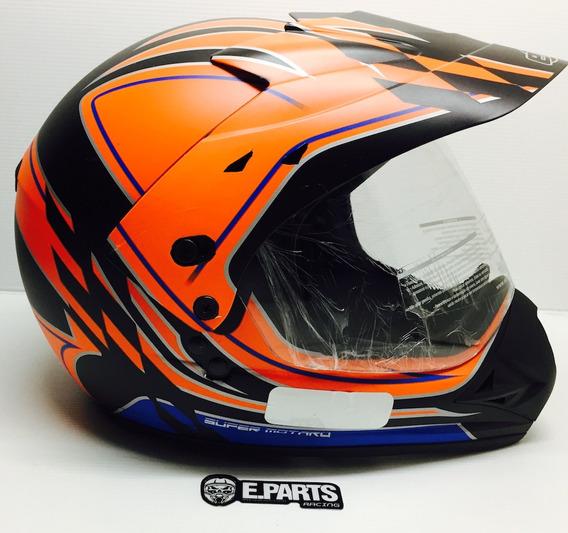 Capacete Ebf Super Motard Gride Preto Fosco/laranja 58