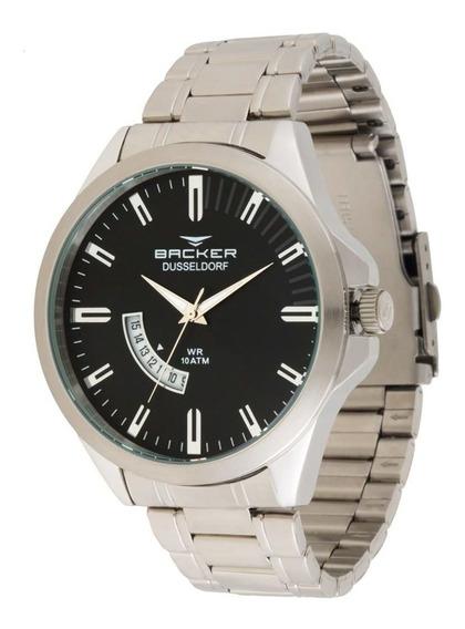 Relógio Backer Masculino 6107253m Pr Casual Prateado Aço