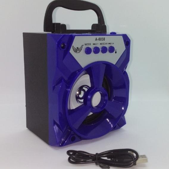 Caixinha Som Portátil Bluetooth Fm P2 Mp3 Cartão Pen Drive Função Multimídia Design Portátil Fácil Transporte Cor Azul