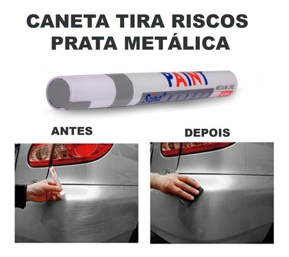 Caneta Tira Riscos Automóveis Tinta Automotiva Prata