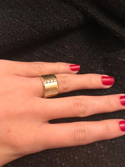 Anel Tamanho 13, Ouro Amarelo Com Diamantes
