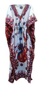 Kafta Longo Indiano -vestido Saída De Praia Estampado Étnico