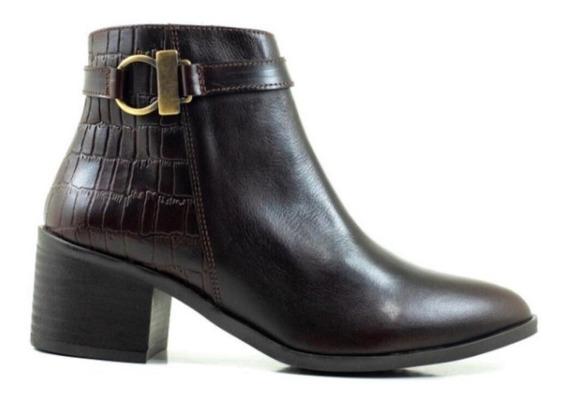 Zapato Botín De Dama Modelo Italia En Fino Cuero Genuino