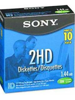 Caja 10 Diskettes Marca Sony 2hd 1.44 Mb 3.5