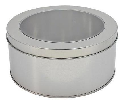 Caja Redonda Metálica Con Tapa Transparente