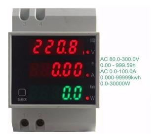 Voltimetro Amperimetro 220v Medidor Consumo Kw/h De Potencia