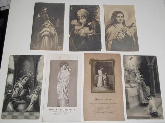 7 Estampas Religiosas Carcaraña N. S. Del Pilar 1922 A 1942