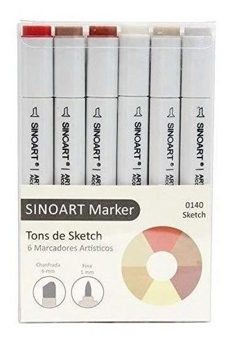 Caneta Sinoart Marcador 2 Pontas Tons De Sketch C/6 Cores
