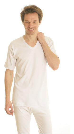 Camiseta Verano M/ Corta Escote V Puro Algodon Mercerizado
