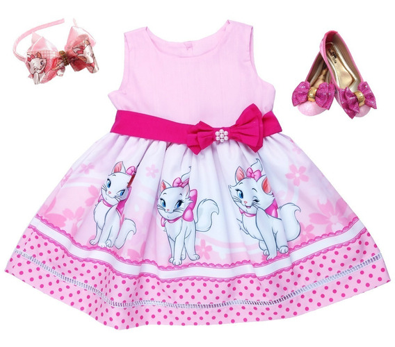 Sapatilha + Vestido Temático Gatinha Marie 8-12 + Tiara