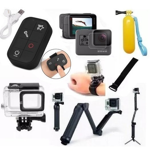 Kit P Gopro Hero 5 Hero 6 Tripe 3 Way Controle Wifi Estanque
