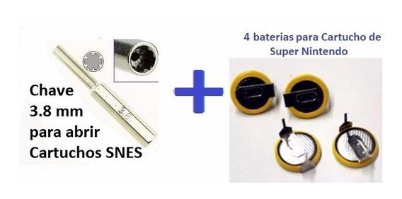 Kit- 4 Baterias Cartuchos Snes + Chave 3.8mm Abrir Cartuchos