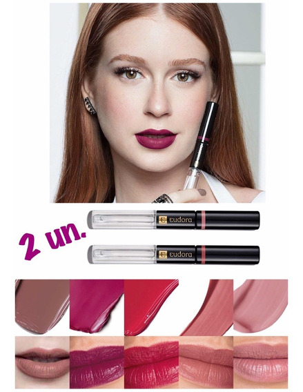 Kit 2 Lip Tint Batom Líquido Eudora - Informe As Cores