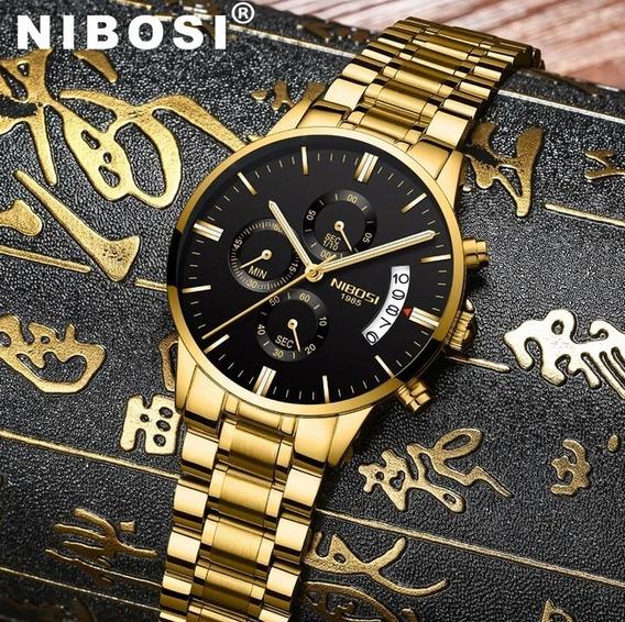 Relógio Nibosi Original Cronógrafo Luxo Frete Grátis