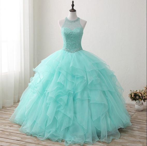 Vestidos Menta Aqua Esmeralda Xv Años Quinceaños 15 Años Wa