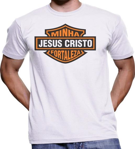 Camiseta Camisa Masculin Feminina Jesus Minha Fortaleza Deus