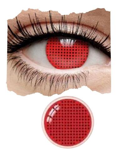 Imagen 1 de 10 de Pupilentes Red Rojos Completos Disfraz Halloween Cosplay