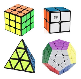 Kit Cubo Mágico Profissional 2x2 3x3 Pyraminx Megaminx Qiyi