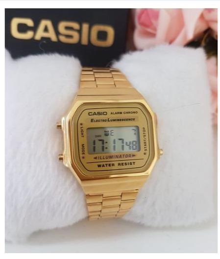 Relógio Pulso Dourado Unisex Retrô Promoção