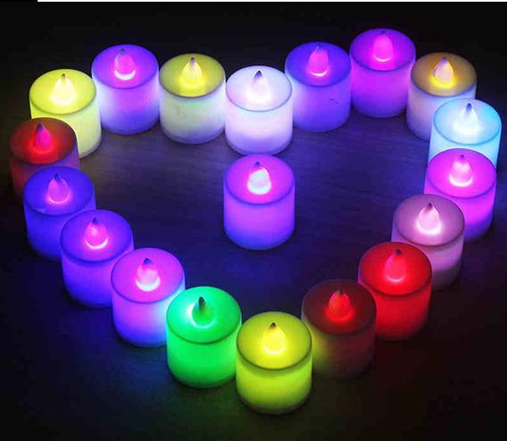 Velas De Luz Led Multicolor Para Fiestas Y Eventos 24 Uds.