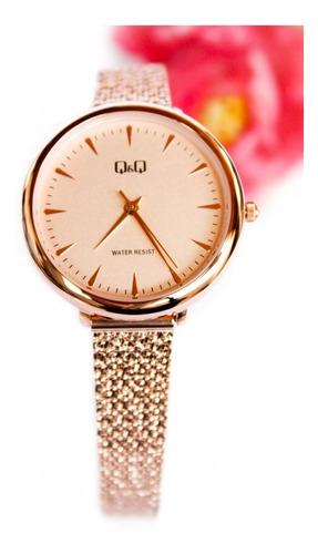 Reloj Q&q Qyq Original Dama Blanco Oro Rosa + Envío Gratis