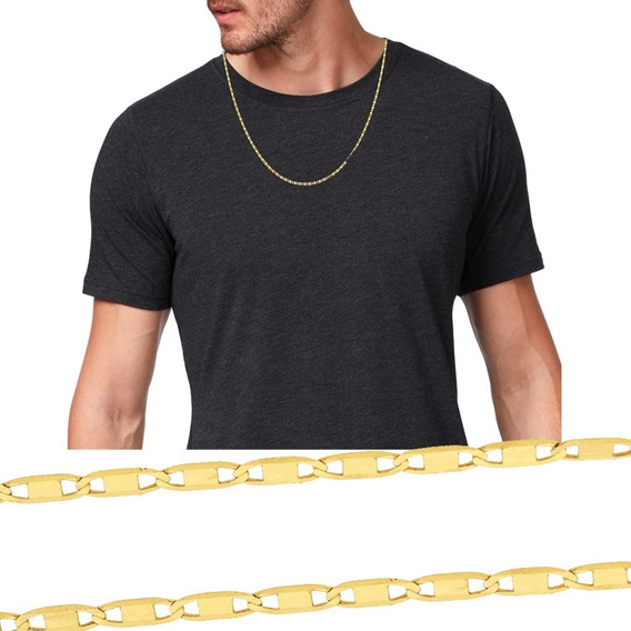 Corrente Masculina Piastrine Banhada 7 Camadas De Ouro 24k