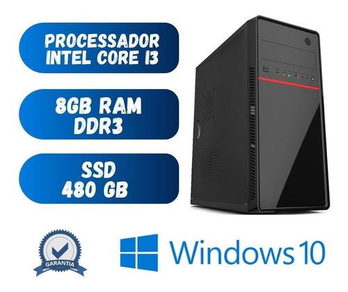 Pc De Mesa - Computador Desktop Cpu I3 8gb Ssd 480 Win10 Dvd