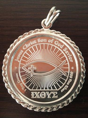 Dije Medallón Jesucristo En Plata Pura