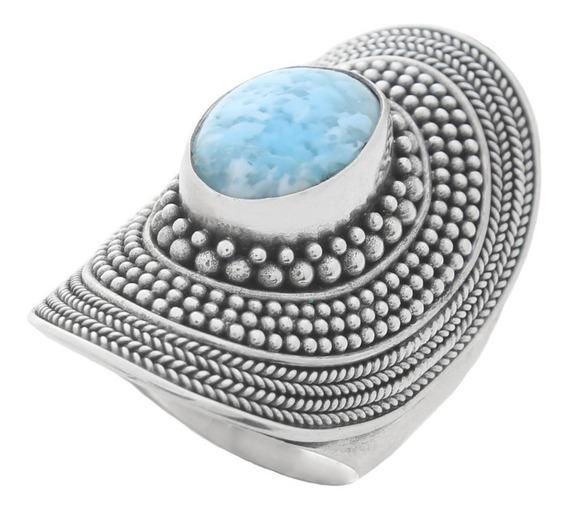 Anel Oval Trabalhado Pedra Azul Rajada Prata De Lei 925 4824