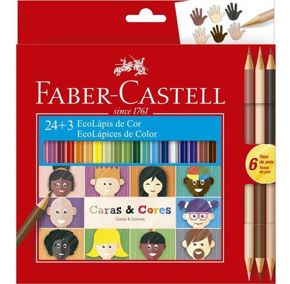 Lapis De Cor Faber-castell 24 Cores + 6 Tons De Pele