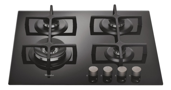Cubierta A Gas 4 Quemadores Vitracerámica Negro Whirlpool