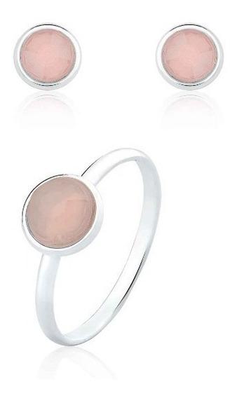 Anel Adulto Glass Rose + Brinco Glass Rose Prata 925