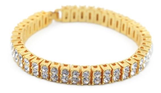 Bracelete Neymar 5mm Cor Ouro Zirconias Pronta Entrega