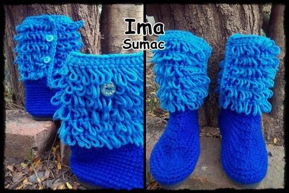 Pantuflas Botas De Lana En Crochet. Artesanales. T 30/34