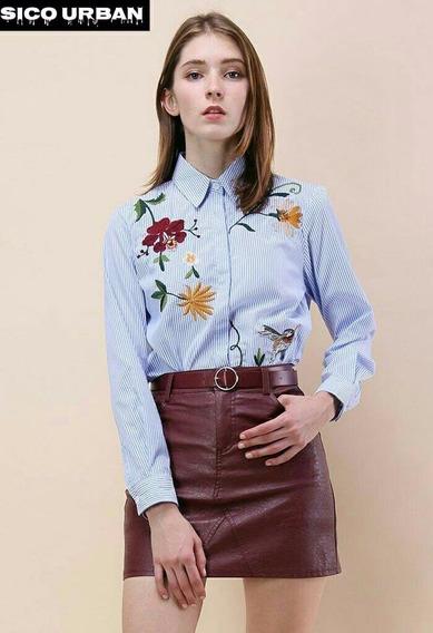 Camisa Dama Bordada Elastizada Talle Unico Original 2018