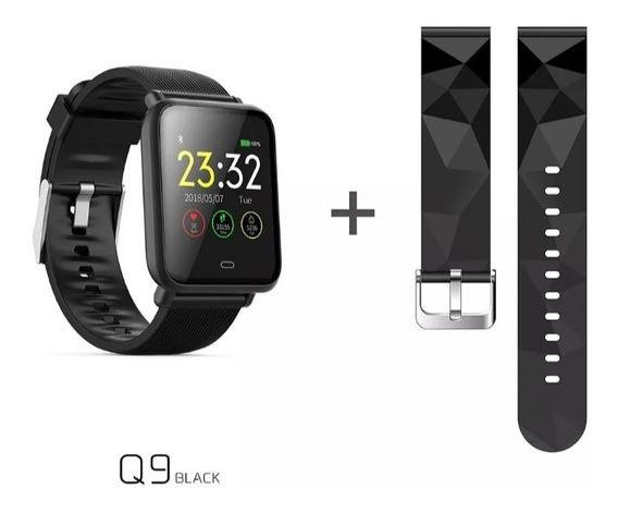 Relógio Inteligente Q9 C/2 Pulseiras Preto (envio Imediato)