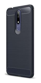 Funda Nokia 3.1 Plus Carbono Anti Golpes + Vidrio Templado
