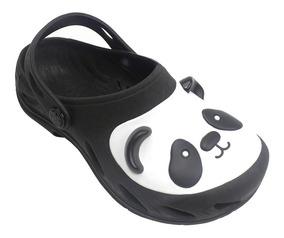 Babuche Plugt Ventor Panda Infantil - Preto/branco